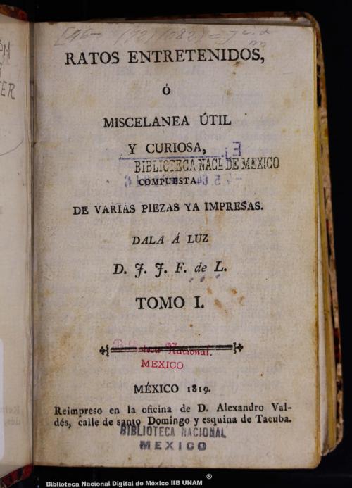 Imagen de Ratos entretenidos, ó, Miscelánea útil y curiosa, compuesta de varias piezas ya impresas