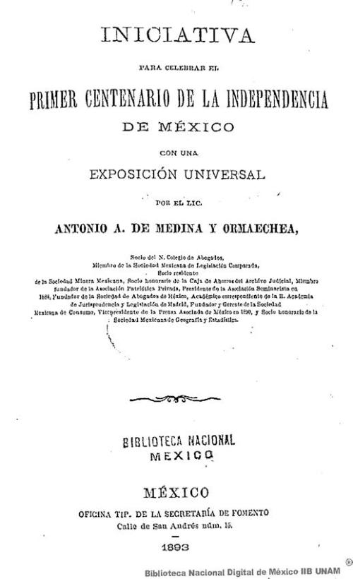 Imagen de Iniciativa para celebrar el primer centenario de la independencia de México con una exposición universal