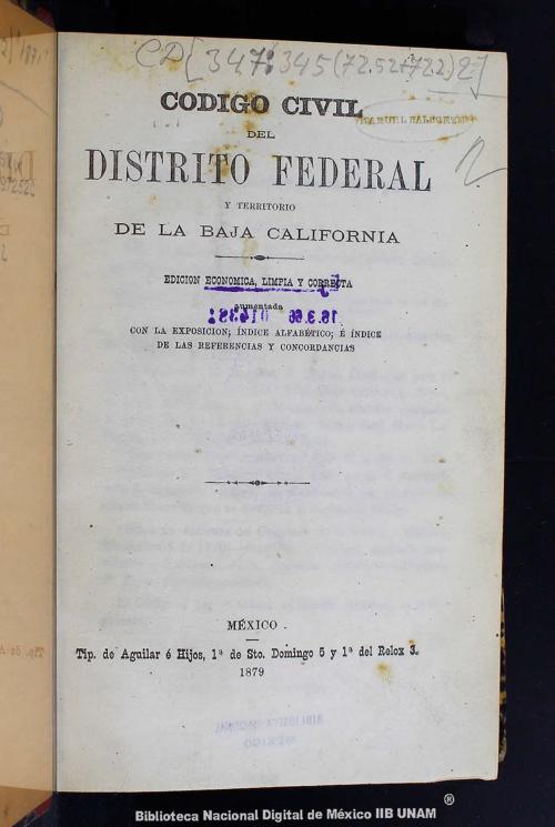 Imagen de Código civil del Distrito Federal y territorio de la Baja California