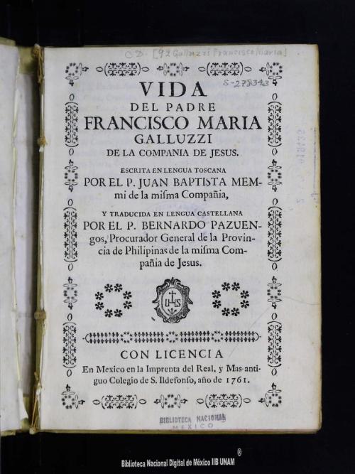 Imagen de Vida del padre Francisco María Galluzzi de la Compañía de Jesús