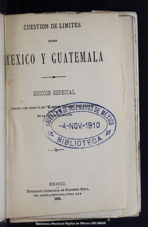 Imagen de Cuestión de límites entre México y Guatemala