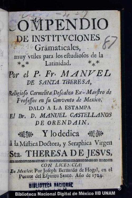 Imagen de Compendio de institvciones gramaticales: muy vtiles para los estudiosos de la latinidad