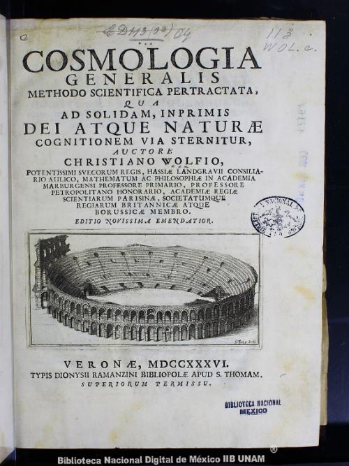 Imagen de Cosmologia generalis methodo scientifica pertractata, qua ad solidam, imprimis dei atque naturae cognitionem via sternitur