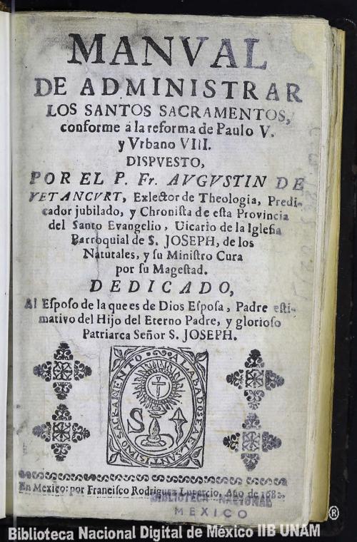 Imagen de Manval de administrar los Santos Sacramentos, conforme a la reforma de Paulo V y Vrbano VIII