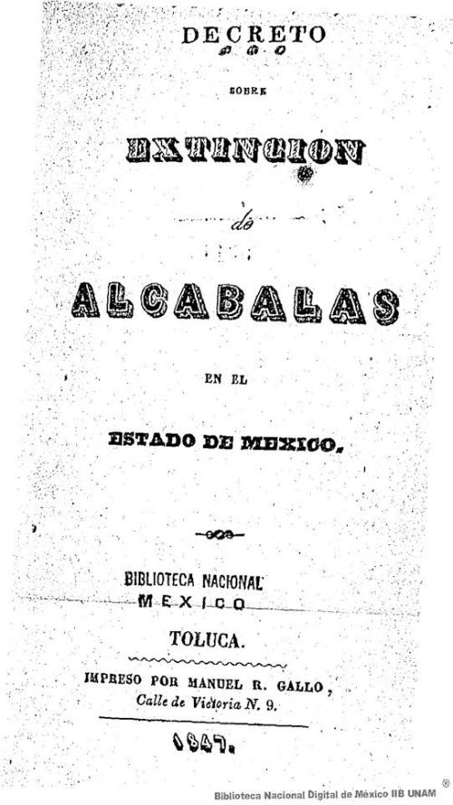 Imagen de Decreto sobre extinción de alcabalas en el Estado de México