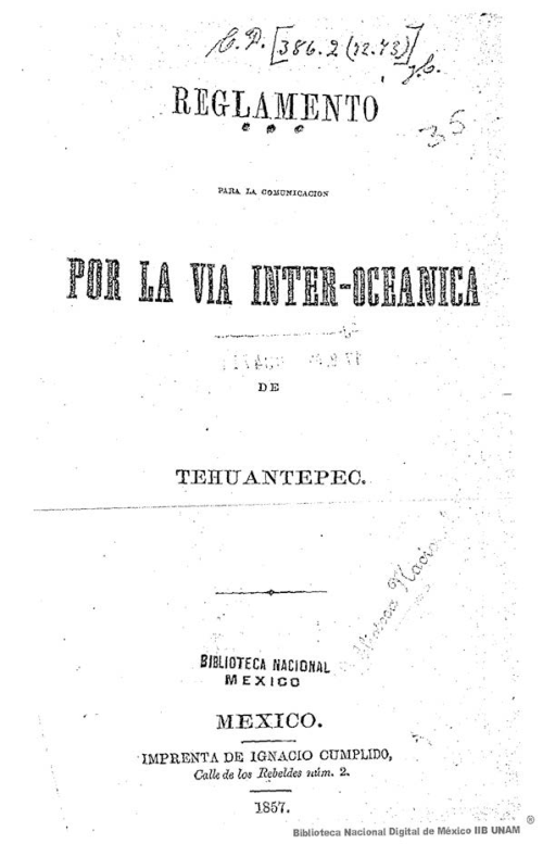 Imagen de Reglamento para la comunicación por la vía inter-oceánica de Tehuantepec