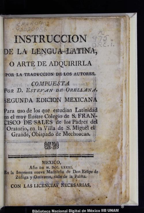 Imagen de Instrucción de la lengua latina, o, Arte de adquirirla por la tr. de los autores