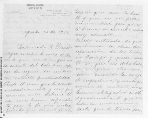 Imagen de Carta de Carmen Romero Rubio de Díaz en Interlaken, Suiza a Enrique Danel en México