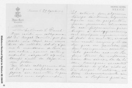 Imagen de Carta de Carmen Romero Rubio de Díaz en Lausana, Suiza a Enrique Danel en México