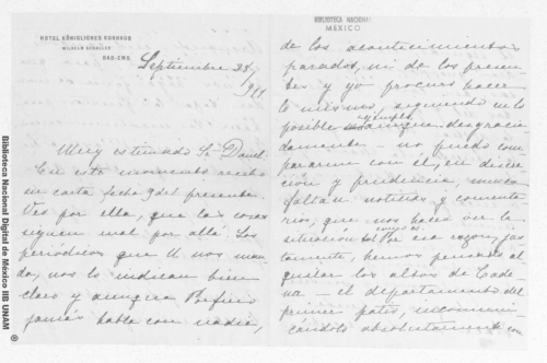 Imagen de Carta de Carmen Romero Rubio de Díaz en Bad Ems, Alemania a Enrique Danel en México