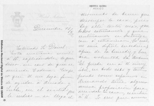 Imagen de Carta de Carmen Romero Rubio de Díaz en París a Enrique Danel en México