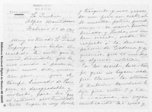 Imagen de Carta de Carmen Romero Rubio de Díaz en los Alpes Marítimos al Sr. Enrique Danel en México