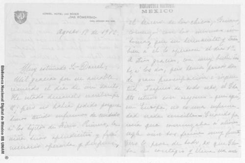 Imagen de Carta de Carmen Romero Rubio de Díaz en Ems, Alemania a Enrique Danel en México