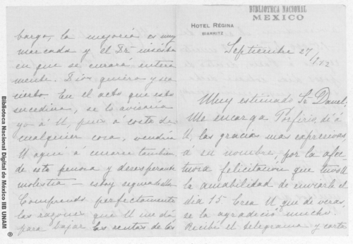 Imagen de Carta de Carmen Romero Rubio de Díaz en Biarritz a Enrique Danel en México