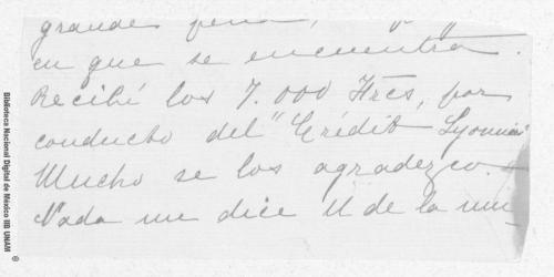 Imagen de Carta incompleta de Carmen Romero Rubio de Díaz en Nice Cimier, Alpes Marítimos a Enrique Danel en México