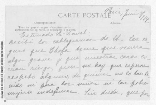 Imagen de Tarjeta postal del Hotel Astoria enviada por Carmen Romero Rubio de Díaz en París a Enrique Danel en México