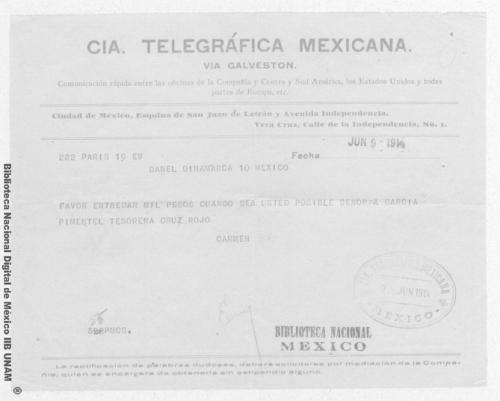 Imagen de Telegrama enviado por Carmen Romero Rubio en París al Sr. Enrique Danel en México