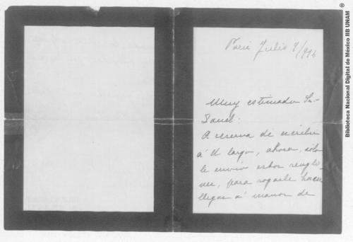 Imagen de Carta de Carmen Romero Rubio de Díaz en París, al Sr. Enrique Danel en México