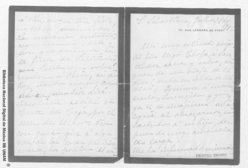 Imagen de Carta de Carmen Romero Rubio de Díaz en Santander, España, al Sr. Enrique Danel en México