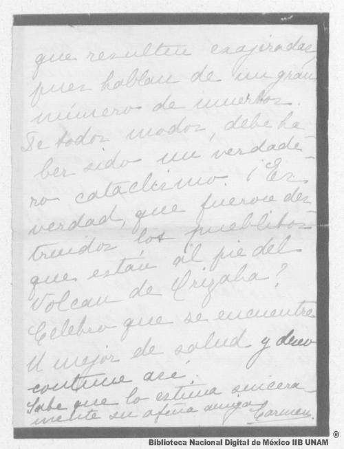 Imagen de Carta de Carmen Romero Rubio de Díaz en París, a Enrique Danel en México