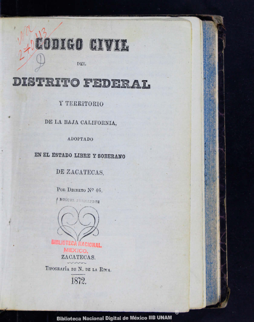 Imagen de Código civil del Distrito Federal y territorio de la Baja California, adoptado en el estado libre y soberano de Zacatecas, por decreto no 46