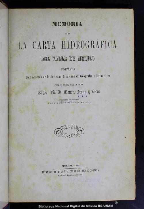 Imagen de Memoria para la carta hidrográfica del Valle de México