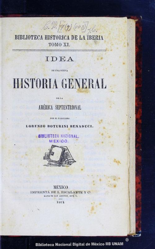 Imagen de Idea de una nueva historia general de la América Septentrional