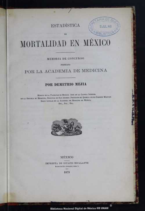 Imagen de Estadística de mortalidad en México: memoria de concurso premiada por la Academia de Medicina
