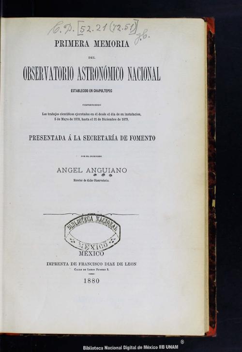 Imagen de Primera memoria del Observatorio Astronómico Nacional: establecido en Chapultepec