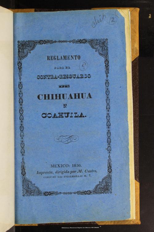 Imagen de Reglamento para el contra-resguardo de Chihuahua y Coahuila