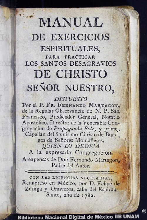 Imagen de Manual de exercicios espirituales, para practicar los santos desagravios de Cristo Señor Nuestro