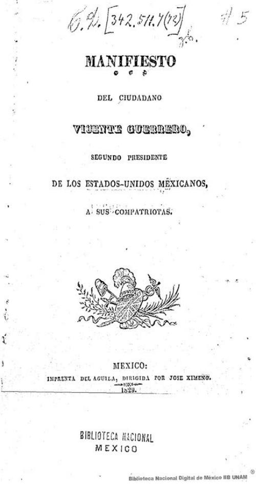 Imagen de Manifiesto del ciudadano Vicente Guerrero, segundo presidente de los Estados Unidos Mexicanos, a sus compatriotas