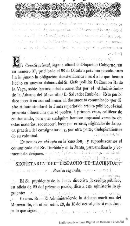 Imagen de Defensa del Sr. Gefe Político D. Ramón R. de la Vega, sobre las iniquidades cometidas por el Administrador de la Aduana del Manzanillo, D. Salvador Iturbide