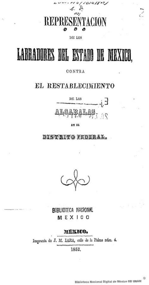 Imagen de Representación de los labradores del Estado de México, contra el restablecimiento de las alcabalas en el Distrito Federal