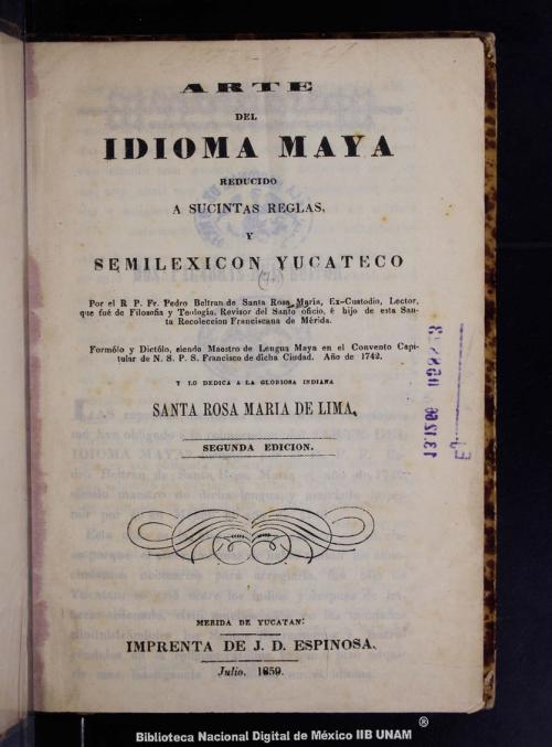 Imagen de Arte del idioma maya reducido a sucintas reglas y semilexicon yucateco