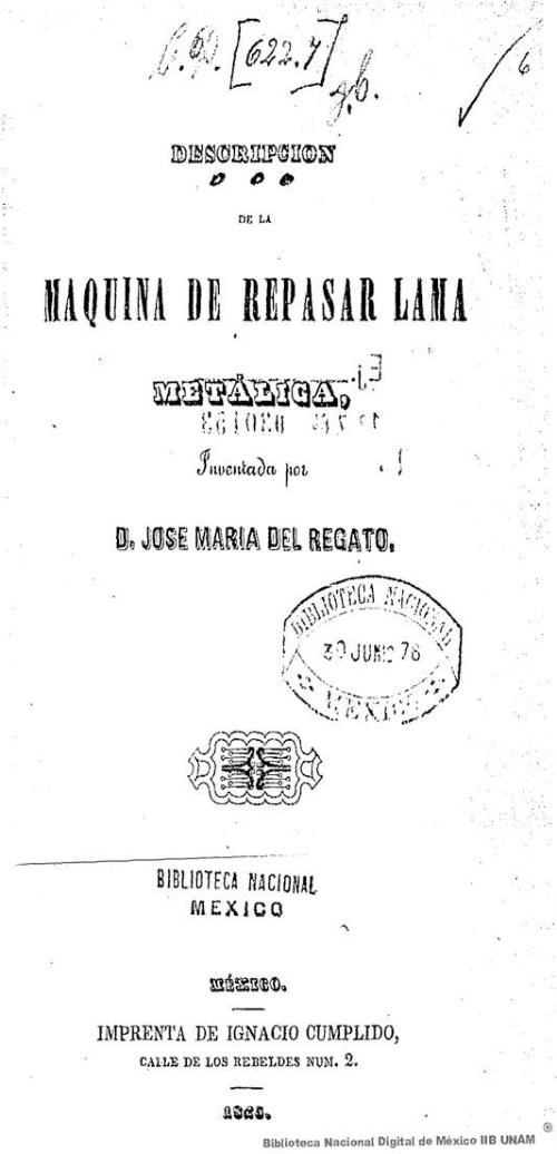 Imagen de Descripción de la máquina de repasar lama metálica, inventada por D José Maria del Regato