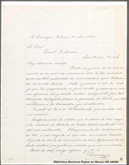 Imagen de Carta de Venustiano Carranza en la que comunica que está enterado de la instalación del club en San Pedro, postulando su candidatura