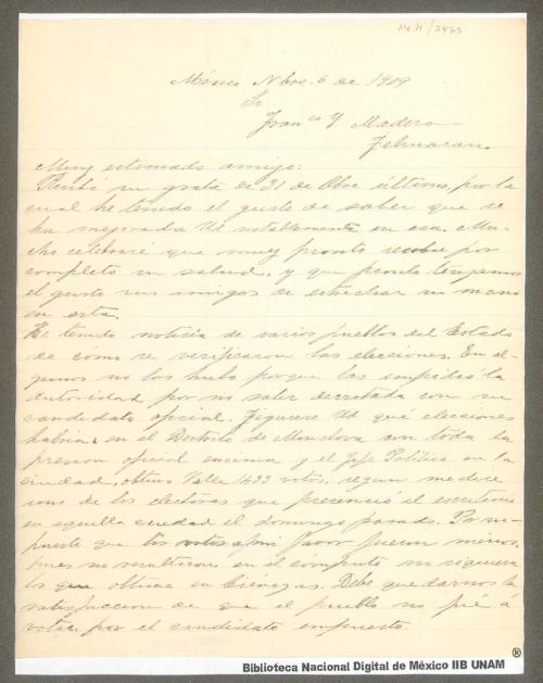 Imagen de Carta de Venustiano Carranza a Francisco I. Madero expresanóle el gusto que tiene de saber que se encuentra mejor de salud