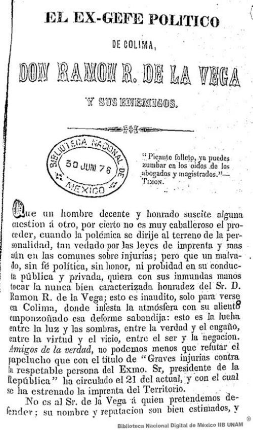 Imagen de El ex-gefe político de Colima, Don Ramón R de la Vega y sus enemigos