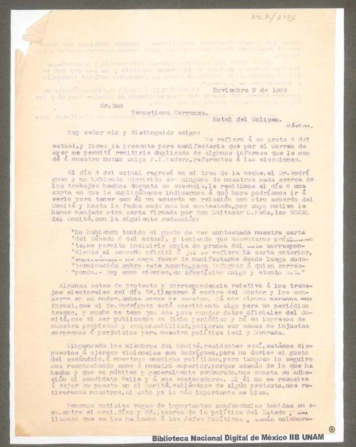 Imagen de Carta a Venustiano Carranza en la que se remiten algunos duplicados de informes enviados a Francisco I. Madero referentes a las elecciones