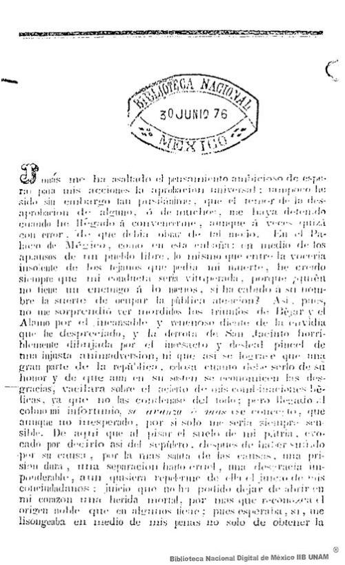 Imagen de Carta abierta mayo 10 1837: justicia y valor a las acciones cometidas en la guerra de Téjas, ante el apoyo y crítica de la gente