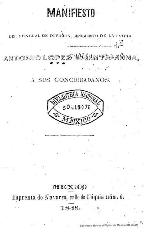 Imagen de Manifiesto del general de división, benémerito de la patria Antonio López de Santa- Anna, a sus conciudadanos