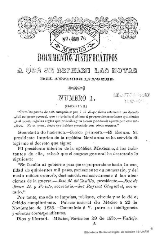 Imagen de Documentos justificativos a que se refieren las notas del anterior informe