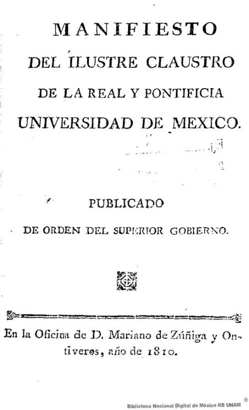 Imagen de Manifiesto del ilustre claustro de la Real y Pontificia Universidad de México