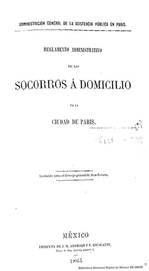 Imagen de Reglamento administrativo de los socorros á domicilio en la ciudad de París