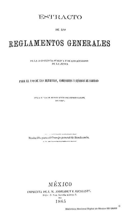 Imagen de Estracto de los reglamentos generales de la asistencia pública y de los acuerdos de la junta para el uso de las hermanas, comisarios y señoras de la caridad de la Junta de Beneficencia del Primer Cuartel de París