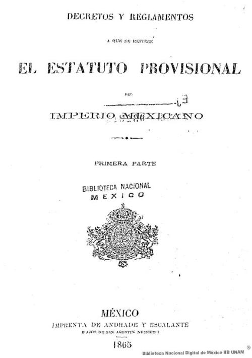 Imagen de Decretos y reglamentos a que se refiere el Estatuto provisional del imperio mexicano