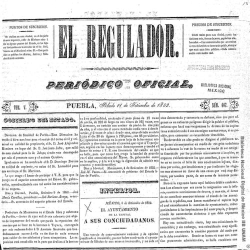 Imagen de El Regulador: periódico oficial: Puebla, sábado 11 de setiembre de 1852
