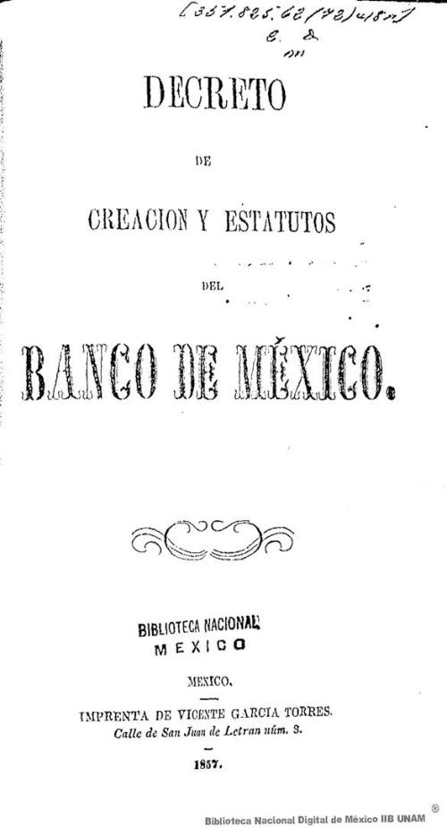 Imagen de Decreto de creación y estatutos del Banco de México