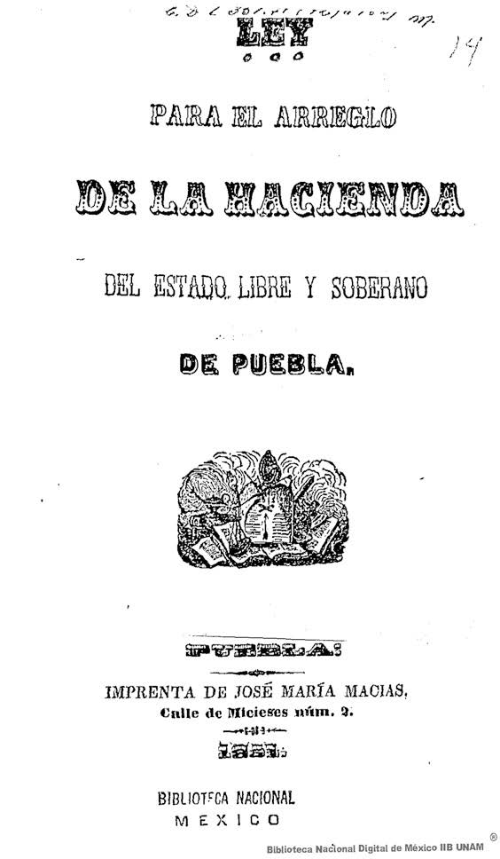 Imagen de Ley para el arreglo de la hacienda del Estado libre y soberano de Puebla